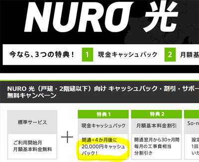 【NURO 光】キャンペーン