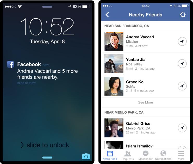 Facebook 近くにいる友達 機能