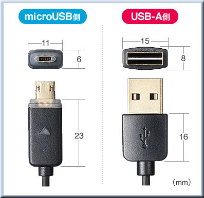 サンワサプライ microUSB スマホ充電ケーブル LED データ同期