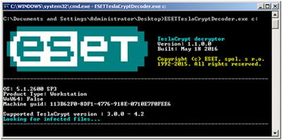 vvvウイルス TeslaCrypt CrypTesla ランサムウェア 暗号解除 ESET