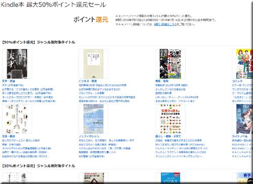 Amazon セール 速報 Kindle本 最大 50% ポイント 還元セール