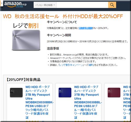 Amazon セール 速報 WD ウェスタン・デジタル 外付け HDD キャンペーン
