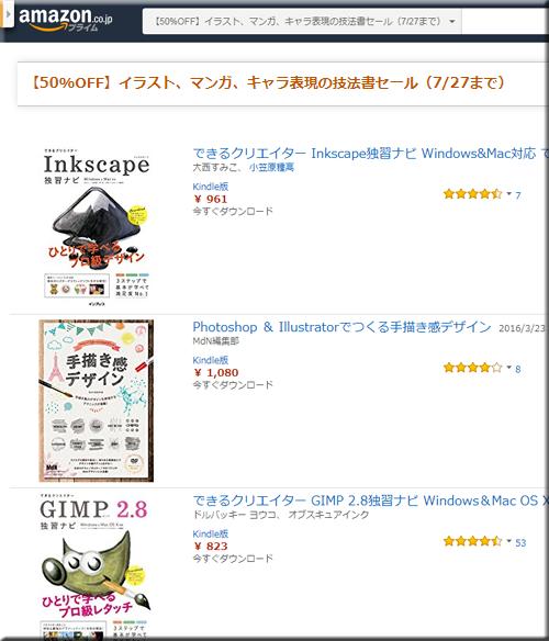 Amazon セール 速報 Kindle本 技法書 イラスト マンガ キャラ フェア 半額 キャンペーン