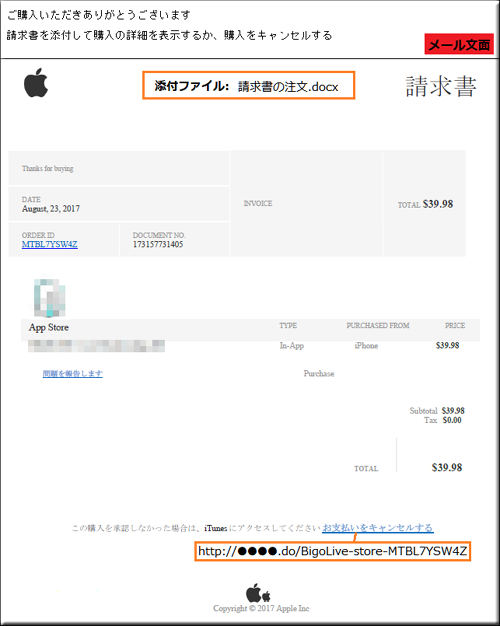 Apple アップル ストア フィッシングメール フィッシングサイト 添付ファイル 偽サイト 偽メール