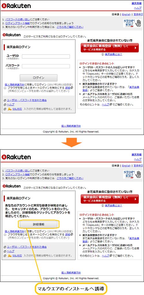 楽天 市場 フィッシングメール 偽サイト ウイルス マルウエア インストール