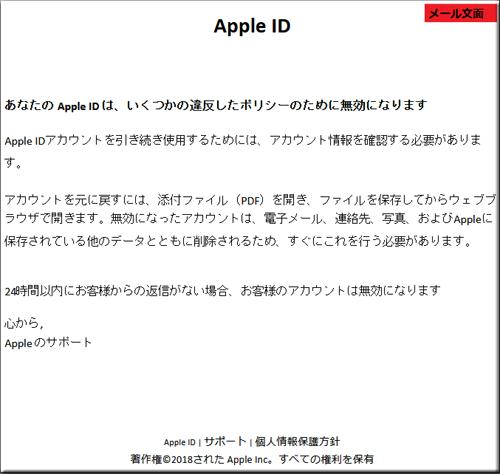 Apple アップルストア フィッシングメール フィッシングサイト 偽サイト PDF ファイル 添付